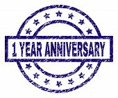 1 Year Anniversary Stamp Seal Watermark With Grunge Texture. Designed With Rectangle, Circles And St poster