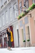 Happy Woman Walking In European Street. Young Attractive Tourist Outdoors In European City Walking O poster