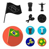 Brazil, Country, Flag, Drum . Brazil Country Set Collection Icons In Black, Flat Style Vector Symbol poster