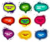 set of grunge colorful speech bubbles with ink splats