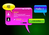 messaging and chatting glosy vector balloons. Icons included to simulate the final look. The text ca