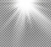 White Glowing Light Burst Explosion On Transparent Background. Vector Illustration Light Effect Deco poster