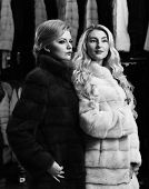 Girls With Strict Faces In Black And White Fur Coats. Women With Blond Hair In Fur Coats In Fur Shop poster