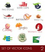 image of cocoon tree  - Set of vector icons - JPG