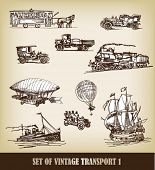 pic of sail ship  - Vector set of vintage transport - JPG