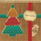 Ripped Vector Christmas tree - Greeting Card, eps10