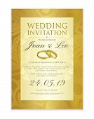 Wedding Invitation Design Template (save The Date Card). Classic Golden Background With Gold Wedding poster