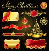 Christmas golden design elements and magnificent inscription.