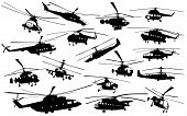 picture of attack helicopter  - Detailed helicopter silhouettes set - JPG