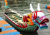 picture of rudder  - A richly decorated dragon boat is anchored on the Love River in Kaohsiung in preparation for the Dragon Boat Festival - JPG