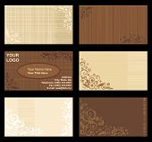 image of scrollwork  - Business cards templates set of six with floral patterns and fabric texture visible horizontal natural colors - JPG