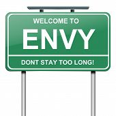 image of envy  - Illustration depicting a green roadsign with an envy concept - JPG