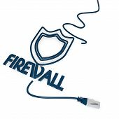 firewall symbol with cat5 network cable