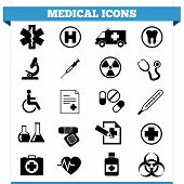 foto of ambulance  - Vector set of medical web icons and design elements for hospital ambulatory clinic or other health care institution - JPG