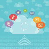 stock photo of upstream  - Vector illustration of cloud sharing concept with media and cloud storage symbols - JPG