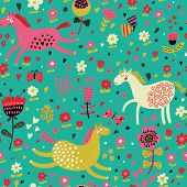 Childish cartoon seamless pattern �¢�?�? funny horses in flowers. Seamless pattern can be used f