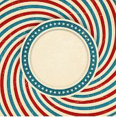 Vintage style aged USA themed grunge design with spiraling blue, red and off white rays and center l