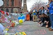 Boston - Apr 20: People Poured Over The Memorial Set Up On Boylston Street In Boston, Usa On April 2