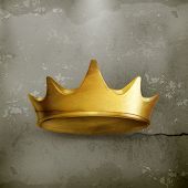 Golden crown, old style vector