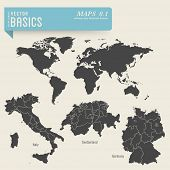 vector basics: maps 1 - worldmap and detailed ones of Italy, Switzerland and Germany, including thei