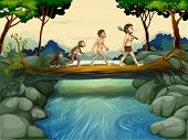 picture of ape-man  - Illustration of the evolution of man at the river - JPG