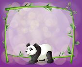 Illustration of a panda in front of a bamboo frame