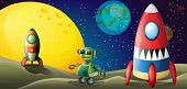 picture of outerspace  - Illustration of the two aircrafts and a robot in the outerspace - JPG