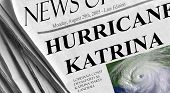 stock photo of katrina  - newspaper headlines about hurricane katrina from monday august 29th 2005 - JPG