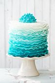stock photo of dessert plate  - Ombre ruffle cake - JPG