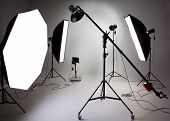 stock photo of generator  - Large photostudio with lighting equipment for the work of photographer - JPG