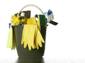 stock photo of house cleaning  - Wet plastic bucket with cleaning supplies isolated on white background - JPG