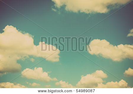 Blue sky vintage and natural background poster