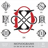 Vintage Monograms DX DM DS DE DR DM DN