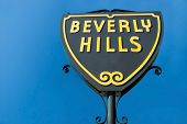 picture of blue angels  - Beverly Hills sign in Los Angeles park with beautiful blue sky in background - JPG