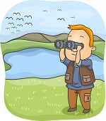 Постер, плакат: Illustration of a Man Using a Pair of Binoculars to Observe Birds