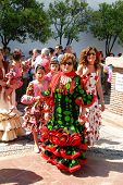 Spanish women in traditional dress, Marbella.