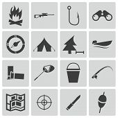 stock photo of hunter  - Vector black  hunting icons set on white background - JPG