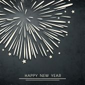 Happy New Year 2014 celebration flyer, poster, banner or invitation with fireworks on grey backgroun