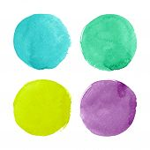 stock photo of circle shaped  - Beautiful watercolor circles for design - JPG