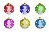 Set Of Multicolored Christmas Balls With Painted Christmas Tree