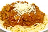 Spaghetti With Meat Sauce And Parmesan Cheese poster