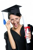 foto of school-leaver  - Graduating student in spectacles with the diploma adjusts the spectacles - JPG
