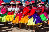 PUNO, PERU - JULY 25: musicians and dancers in the peruvian Andes at Taquile Island on Puno Peru at