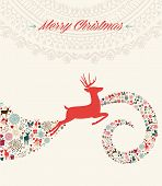 Christmas Reindeer Greeting Card Illustration
