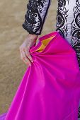 stock photo of bullfighting  - Bullfighter with the Cape before the Bullfight - JPG