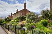 picture of english cottage garden  - Row of brick - JPG