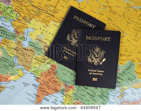 Two Passports on a Map poster