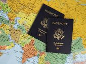 Two Passports on a Map mouse pad