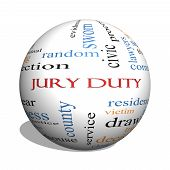 stock photo of jury  - Jury Duty 3D sphere Word Cloud Concept with great terms such as appear serve juror and more - JPG