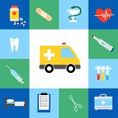 pic of ecg chart  - Set of medical flat icons including an ambulance  transport  pills  tablets  tooth  dentistry  injection  syringe  hypodermic  first aid kit  plaster  caduceus  test tubes  test kit  forceps and bed - JPG